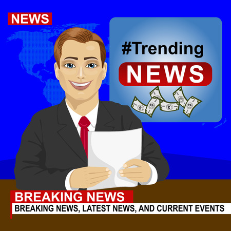 newsreader: Young news anchor man reporting breaking news sitting in a studio Illustration