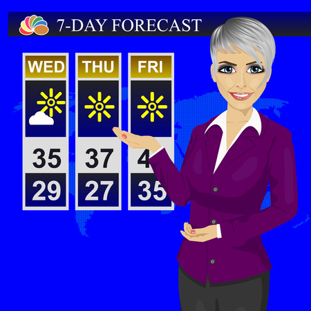 news reporter: TV weather news reporter meteorologist anchorwoman reporting on the monitor screen