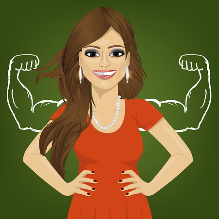 wishful: Woman with healthy strong arm muscles standing with hands on hips. Reality vs ambition wishful thinking concept Illustration