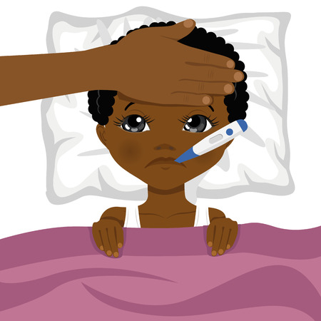 little african american boy ill in bed with a thermometer in his mouth and mother s head on his forehead Stock Illustratie