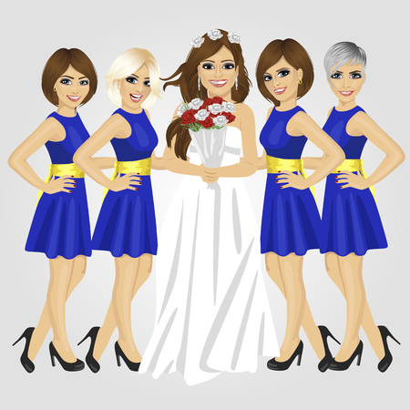 bridesmaids: Beautiful bride in the wedding dress holding bouquet of roses with group of her bridesmaids