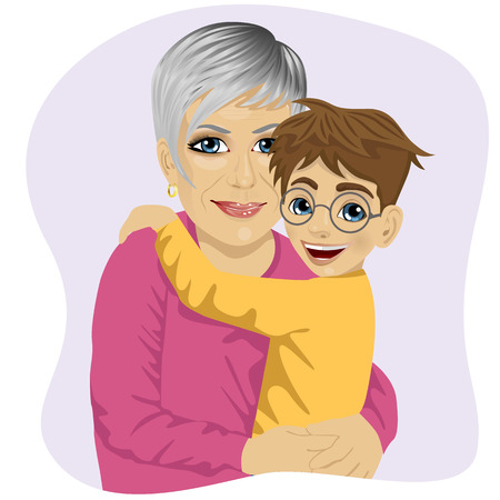 Grandmother hugging her cute grandson isolated on white background Illustration