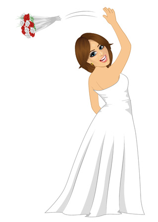 wedding dress back: Young beautiful bride tossing a rose bouquet on her wedding day on blue background