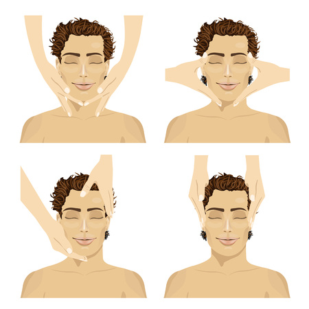 facial massage: Collage of young man in spa salon getting facial massage isolated on white background