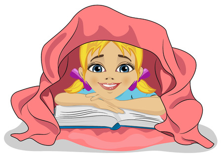 under the bed: Little cute girl reading a book in bed under pink blanket Illustration