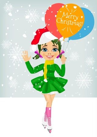 little skate: little cute girl skating ourdoors wearing santa hat holding balloons with merry christmas text Illustration