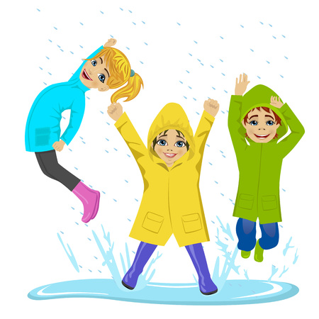 puddle: little kids playing on puddle wearing colorful raincoats and boots over white background