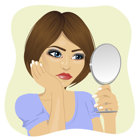 concerned: Concerned young woman looking at herself in the mirror Illustration