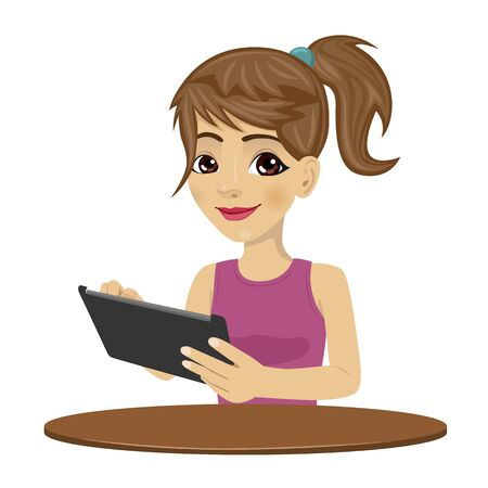 woman tablet: young teenager girl using tablet computer isolated over white background Illustration