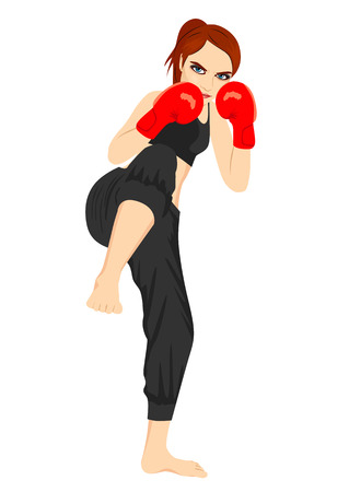 Full body portrait of female kick boxer over white background