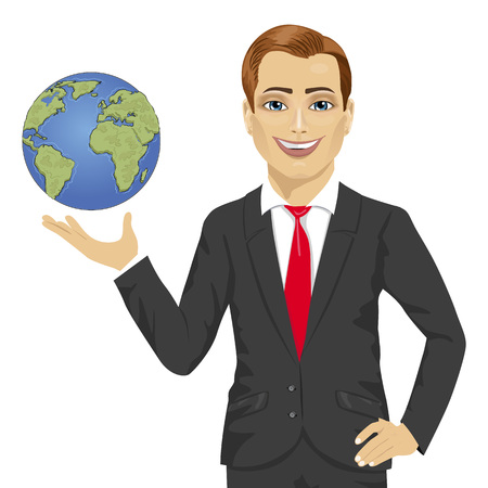 hand holding globe: Young businessman holding globe in his hand isolated on white background
