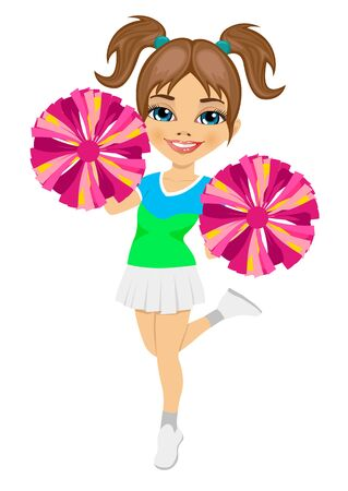 cheer: little cheerleader holding pompoms isolated on white background