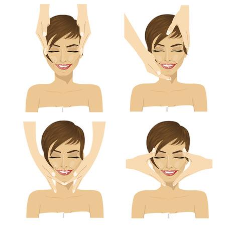 Kolaż młoda kobieta w zdroju salonie dostaje twarzowego masaż odizolowywającego na białym tle