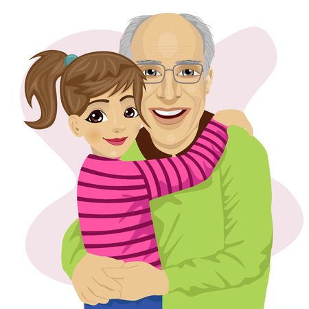 grandpapa: Grandfather hugging her cute granddaughter isolated on white background