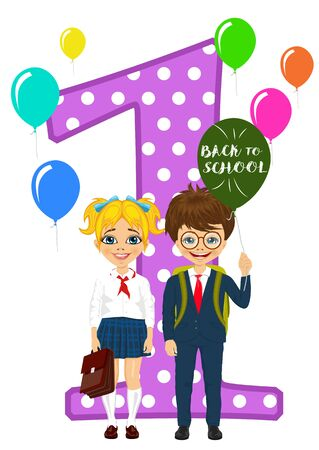 background next: little schoolgirl and schoolboy in school uniform holding balloons with back to school text standing next to number one on white background