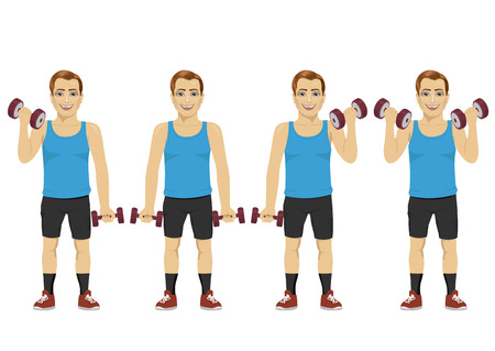 active lifestyle: Young man doing dumbbell exercises. Active lifestyle. Isolated on white background Illustration