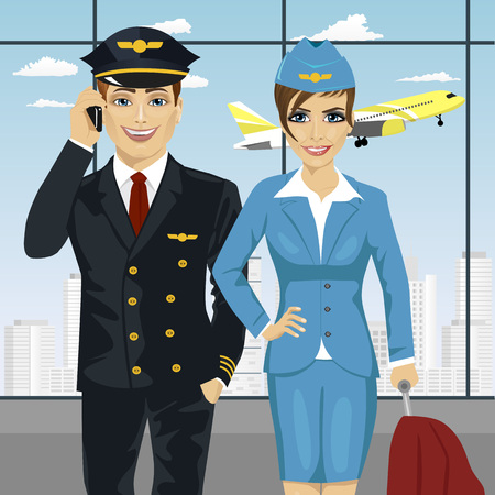 pilot and air hostess in uniform at the airport Vectores
