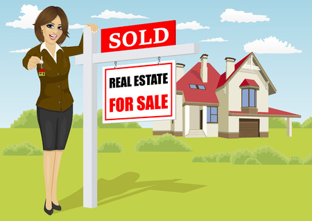 homebuyer: Female real estate agent standing next to a sold for sale sign in front of classic cottage