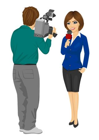 Back view of cameraman recording female journalist or TV reporter presenting the news in studio isolated on white background
