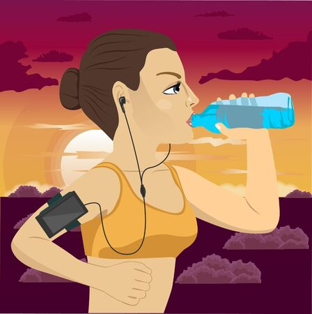 armband: young runner woman with smartphone armband listening to music on mobile phone app drinking bottled mineral water jogging at sunset in the park