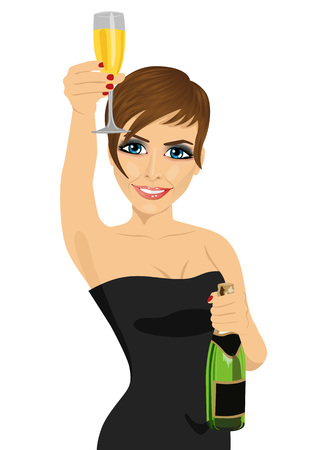 young beautiful woman toasting with lingerie and bottle of champagne over white background