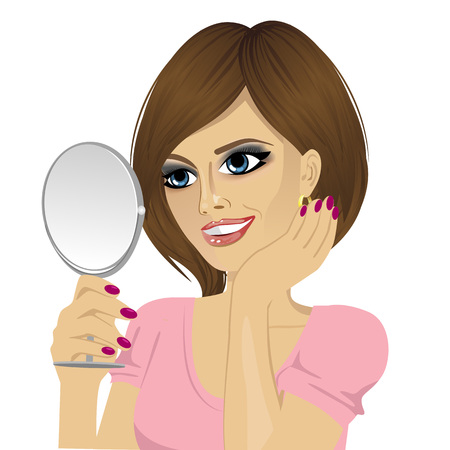 a charming: beautiful young happy woman looking at herself in small mirror over white isolated background Illustration
