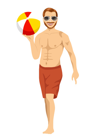inflatable ball: beach dude with sunglasses holding an inflatable striped ball isolated on white background