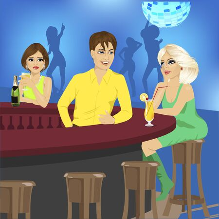 bar counter: bartender talks to blonde sitting at the bar counter while another woman looks at her jealously