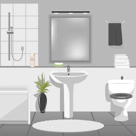 luxury hotel room: Illustration of modern bathroom interior with sink, bathtub, toilet Illustration