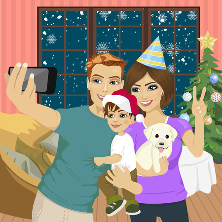 family holiday: Smiling mother, father and little son making selfie with camera over living room and christmas tree background. Family, holidays, technology and people Illustration