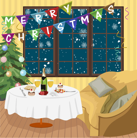 setting table: Illustration of Christmas and New Year interior room with decorated table, sofa and tree Illustration