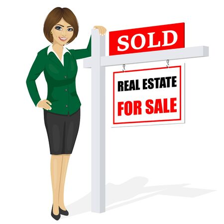 homebuyer: Female real estate agent standing next to a sold for sale sign on white background