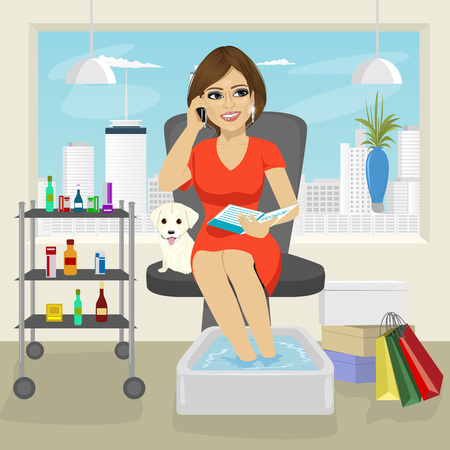 retail therapy: Beautiful woman getting spa pedicure procedure talking on the smartphone and reading fashion magazine Illustration