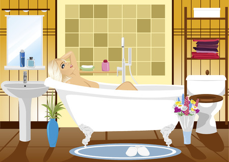 health resort: beautiful woman relaxing in a spa bath at home