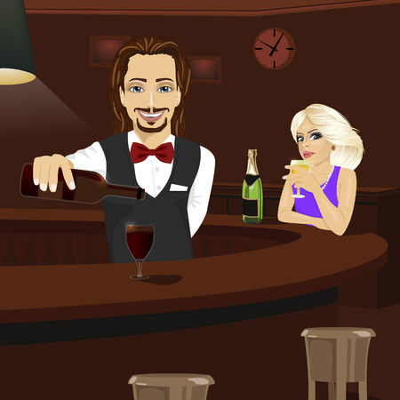 red wine pouring: Young bartender pouring red wine into a glass while beautiful blonde looking at him holding glass of champagne