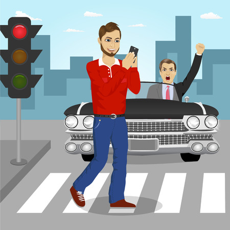 crossing street: Young man crossing street sending sms while angry driver in a black convertible car yelling at him