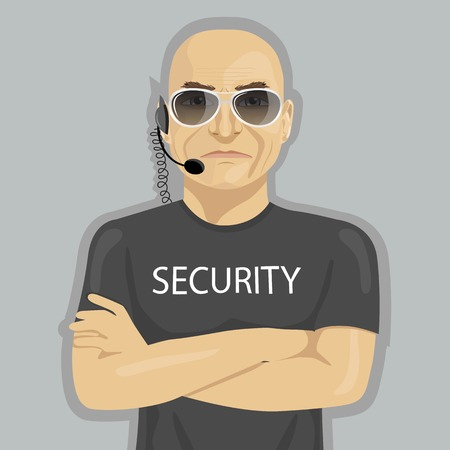 crossed arms: Security guard standing with crossed arms and glasses on a white background