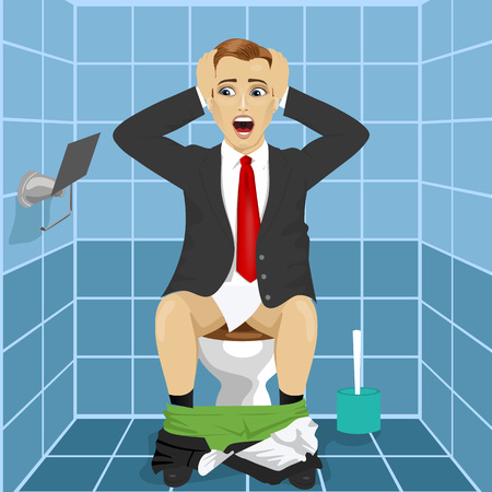 roll paper: young man in business suit sitting on toilet seat upset and shocked noticing that roll without paper Illustration