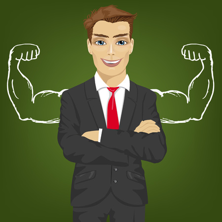 Young man teacher, salesman or businessman with chalk healthy strong arm muscles for success Vettoriali