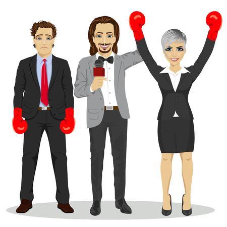 referee holding winner businesswoman in boxer gloves, near standing sad loser businessman over white background
