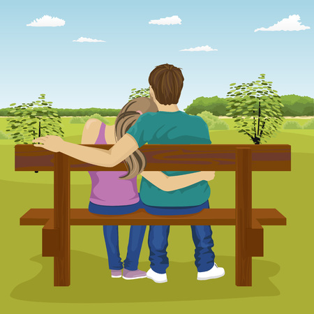 happy young couple: Rear view of happy young couple sitting together on bench outdoors in summer