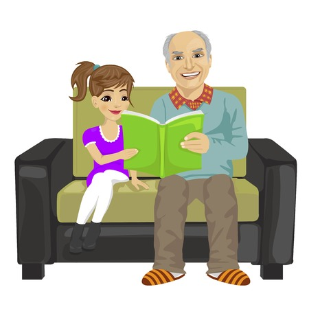 woman girl: grandfather and granddaughter sitting on the sofa and reading book on white background