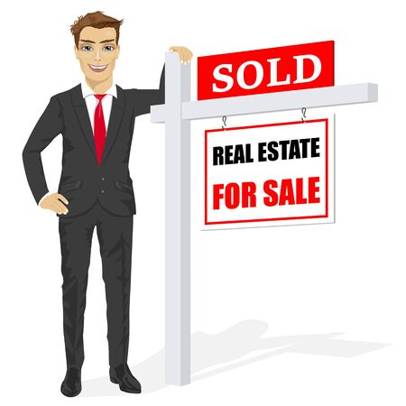 homebuyer: Male real estate agent standing next to a sold for sale sign on white background