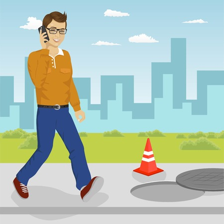 Man walking into an open manhole looking at his smartphone. Smartphone addiction