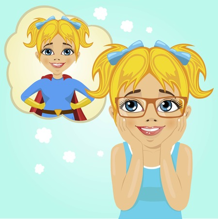 dreaming girl: cute little girl dreaming about becoming superhero