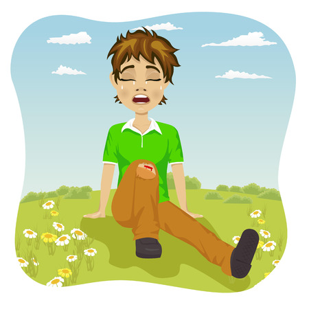 wounded: Crying boy with wounded leg in the park Illustration