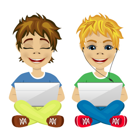 gamers: two young gamers sitting on the floor using laptop on white background Illustration