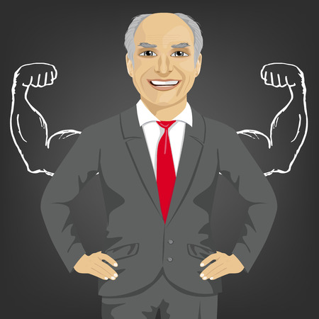 robust: Senior businessman against the background of depicted muscles on chalkboard