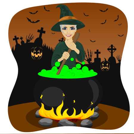 potion: illustration of halloween young witch making a potion