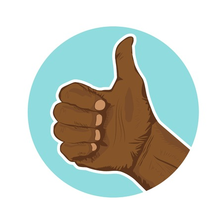 thumbsup: Closeup of hand of african american giving the thumbs-up Illustration